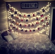 Cute! This is EXACTLY how I would like my room to look like on one side i'm a HUGE FAN! when it comes to lights hanging on the walls!!!