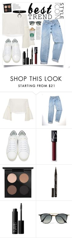 """""""Untitled #89"""" by callmelessie on Polyvore featuring Mode, Rosetta Getty, Yves Saint Laurent, NARS Cosmetics, MAC Cosmetics, Smith & Cult und Ray-Ban"""