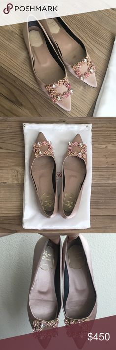 Roger Vivier Flowers Crystal Buckle Flat This color is more like champagne color not pink. Very beautiful and shiny. Come with dust bag!!! Roger Vivier Shoes Flats & Loafers #rogervivierbag