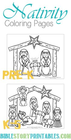 Easy Color Nativity Coloring Page and individual pieces of the nativity to cut out and play with