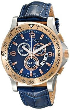 Men's Wrist Watches - Nautica Mens NAD19502G NST 600 Chrono Analog Display Japanese Quartz Blue Watch >>> For more information, visit image link. (This is an Amazon affiliate link)