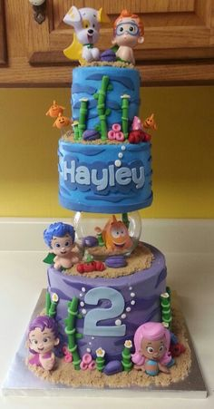 Bubble Guppies Cake, this is amazing! I would love to make a similar cake for a Spongebob birthday party. Bubble Guppies Birthday Cake, Bubble Birthday Parties, Bubble Guppies Party, 2nd Birthday, Birthday Ideas, Birthday Cakes, Minnie Mouse, Guppy, Party Cakes