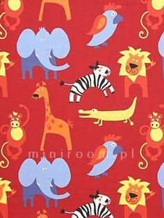 tu jest całe zoo - tkanina dekoracyjna dla maluszka, która ożywi cały pokój www.miniroom.pl