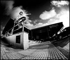 Adri Villar front board pop into the street. DOGWAY issue 93. La Coruña 2011. Photo by Gerard Riera.