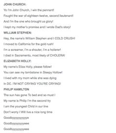 (2/2) Lyrics for HAMILTON Ham4Ham 11/14/15 with The Hamilton Children -- this was fan-freaking-tastic! (I'M NOT CRYING YOU'RE CRYING)