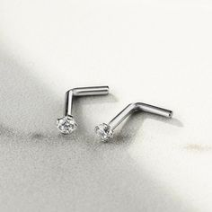 L Bend Shaped Nose Stud In Ball Dome Or Spike vital Body Jewelry Titanium