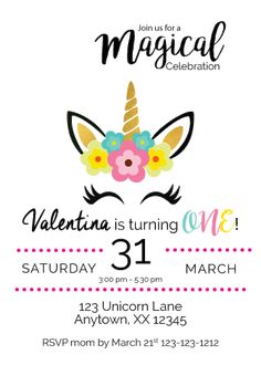 Magical Unicorn We Print Birthday Invitations – Invitetique
