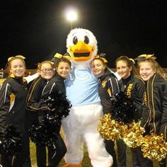 Squall the Seagull the official mascot of Rappahannock Community College greets his new friends made at Colonial Beach High School. #rappahannock #community #college #comm_college #football #fridaynightlights #colonialbeach #drifters