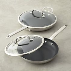 Williams-Sonoma Professional Stainless-Steel Nonstick Covered Fry Pan Set #williamssonoma