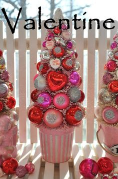 candy shoppe valentine...bottle brush tree