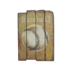 Distressed wood wall decor with a baseball design.Product: Wall décorConstruction Material: WoodFeatures:...