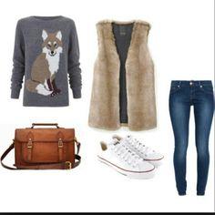 Suéter gris, chaleco peludo, jeans, converses y toque coñac ;)