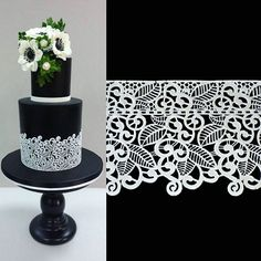 Doing that cake, is now easy! All you need is a black #fondant covered cake, and some ready-made edible lace, available at my #etsystore . Link below #evedeso #eventdesignsource - posted by  https://www.instagram.com/lenascakes. See more Wedding Cake Designs at http://Evedeso.com