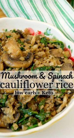Low carb mushroom cauliflower rice easy healthy side dish cauliflowerrice cauliflowerrecipes sidedish lowcarbdiet lowcarbrecipes lowcarb keto ketodiet healthyrecipes cleaneating 30 low carb lunch ideas you can meal prep Healthy Sides, Healthy Side Dishes, Good Healthy Recipes, Veggie Dishes, Whole Food Recipes, Cooking Recipes, Crockpot Recipes, Healthy Snacks, Chicken Recipes