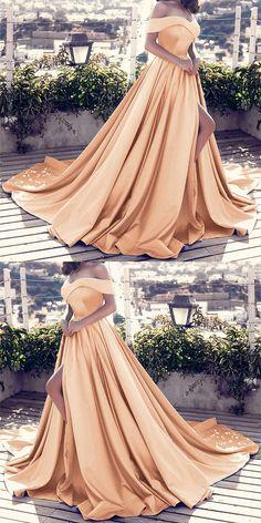 elegant champagne satin v-neck off prom dresses long formal evening gowns with front split