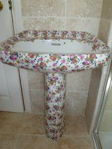 Unusual (and altogether chintzy) Royal Doulton sink with extensive floral pattern. So hideous, it's magnificent!