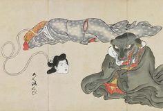 "Rokurokubi with Inugami (dog spirit) from the Bakemono Zukushi (""monster… Weird Creatures, Mythical Creatures, Japanese Yokai, Samurai, Japanese Horror, Japanese Mythology, Japanese Monster, Monster Illustration, Scary Monsters"