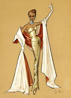 Bill Thomas original signed high fashion costume design sketches (colored pencil & gouache) for an unidentified production Source by ealimia fashion art Illustration Mode, Fashion Illustration Sketches, Fashion Design Sketches, Vintage Fashion Sketches, Estilo Marilyn Monroe, Costume Design Sketch, Sketch Design, Hollywood Costume, Fashion Figures