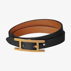 Hermes reversible bracelet in Chamonix and Tadelakt calfskin, gold plated hardware