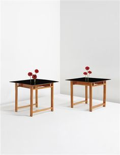 STUDIO BBPR GIANLUIGI BANFI 1910-1945 LODOVICO BELGIOIOSO 1909-2004 ENRICO PERESSUTTI 1908-1976 ERNESTO NATHAN ROGERS 1909-1969 Pair of tables, from Casa Doria, Turin, circa 1935  Pear wood, Temperit glass, glass, zinc.  Each: 29 3/4 x 35 1/4 x 35 3/4 in. (75.6 x 89.5 x 90.8 cm)