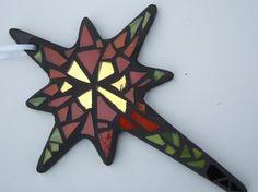 Mosaic Christmas Ornament, Star of Bethlehem, Handmade Stained Glass Mosaic Design