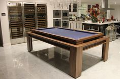 The 'Lingfield'. Custom Pool/Dining Rollover Table setup for playing in a modern Kitchen. www.designerbilliards.co.uk