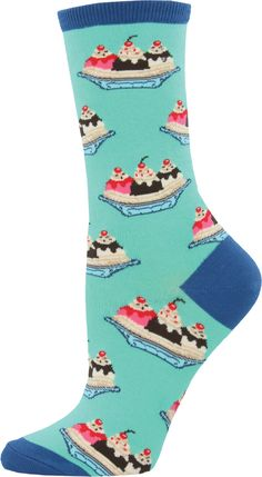 These banana split sundae crew socks look good enough to eat! Can we get a pair, pretty pretty please with whipped cream and a cherry on top? Silly Socks, Funky Socks, Crazy Socks, My Socks, Happy Socks, Cool Socks, Awesome Socks, Gamine Style, Sock Hop
