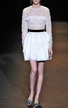 Layered Silk Georgette Dress With Velvet Belt by Alberta Ferretti for Preorder on Moda Operandi