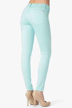 7 For All Mankind Slim Illusion in Aqua Virtual Closet, Fashion Addict, Illusions, Toast, Aqua, Swimsuits, Skinny Jeans, Slim, Shorts