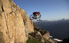 Extreme mountain bike riding in Whistler Mountain Bike Park, Whistler, Canada. Photo via LATimes.com