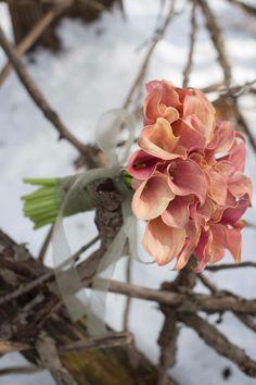 bride bouquet of orange calla lily