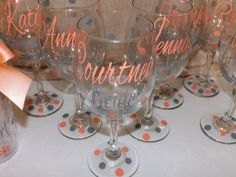 Set of  4 Personalized Bridesmaid wine glasses. Strapless gowns. .Coral and grey wedding glasses