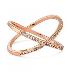 Jon Richard - Rose gold cubic zirconia cross over ring