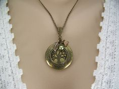Tree of Life Olive Swarovski Pearl Bronze by CreatedinTheWoods, $21.95