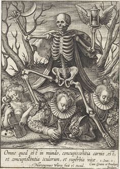 Death lords over concupiscence and pride (Vanitas) - Hieronymus Wierix (1548-1624) 1619