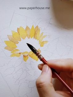 Sakura Portable Watercolor Set for beginner - Color Watercolor Flowers Tutorial, Watercolor Sunflower, Sunflower Art, Watercolour Tutorials, Floral Watercolor, Sunflower Drawing, Watercolor Portrait Tutorial, Watercolor Trees, Watercolor Artists