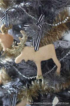 gold and glittery salt dough ornaments
