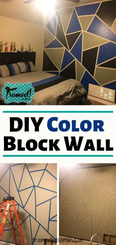 How to DIY Color Block Wall - Home Improvement Ideas - When we moved into our new house, my 13 year old son's only request was a cool backdrop for his Y - Boys Bedroom Paint, Kids Room Paint, Boys Bedroom Ideas 8 Year Old, Childs Bedroom, Teen Boys Room Decor, Diy Room Decor, Kid Decor, Boy Teen Room Ideas, Teen Room Colors