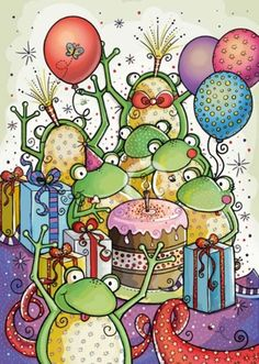 View album on Yandex. Happy Birthday Celebration, Birthday Greetings, Birthday Cards, Birthday Memes, Bedazzled Bottle, Happy Birthday Dear Friend, Frog Drawing, Frog Pictures, Funny Frogs
