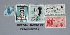 Reserved Custom Order for septembersparkle .. Unused Vintage Postage Stamps Sold  by TreasureFox on Etsy