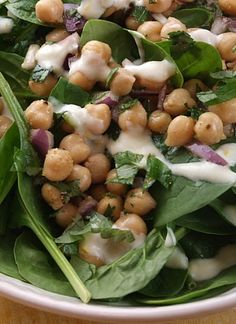 Chickpea and Spinach Salad with Cumin Dressing {one of my FAVORITE SALAD #recipes EVER!}