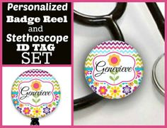 Colorful flower Badge reel and stethoscope tag set by Badgetopia, $15.00