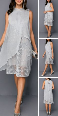Light Grey Sleeveless Tie Back Embroidered Dress - Damenmode Elegant Dresses, Cute Dresses, Casual Dresses, Prom Dresses, Mode Outfits, Dress Outfits, Chiffon Dress, Lace Dress, Mode Ab 50