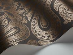 Malabar by Cole & Son - Dark Slate Grey - Wallpaper : Wallpaper Direct Wood Wallpaper, Wallpaper Direct, Wallpaper Roll, Au Hasard Balthazar, Wallpaper Companies, Gold Sand, Lilac Grey, Cole And Son, Paisley Print