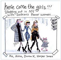 Polly Bean: Anna Wintour, Donna Karan, Harper Seven, New York Fashion Week - Victoria Beckham! Ny Fashion, Fashion Addict, Fashion Models, Womens Fashion, Anna Wintour, Spice Girls, Donna Karan, Powerful Women, Fashion Sketches