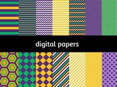 Mardi Digital Paper, Digital Background, Mardi Gras Digital Paper, Green purple orange digital papers, Scrapbook, Festive digital papers