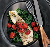 Pan-Seared Halibut with Roasted Tomatoes & Lemon-Garlic Spinach                                                 Fish is a great source of omega-3 fatty acids, which can help lower blood pressure and maintain healthy cholesterol levels. Spinach provides a dose of free-radical-fighting beta-carotene, plus relaxing magnesium.