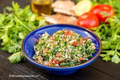 Photo about Quinoa Tabouleh salas in a blue bowl, served on the table. Image of tradional, olive, food - 62762349 Best Salad Recipes, Vegetarian Recipes, Healthy Recipes, Quinoa Tabouleh, Tabouli Recipe, Lebanese Recipes, Blue Bowl, Picky Eaters, Recipies