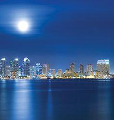 Full Moon with city skyline