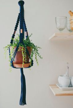 Copper and Navy Blue Macrame Plant Hanger by CottonandCopperGoods